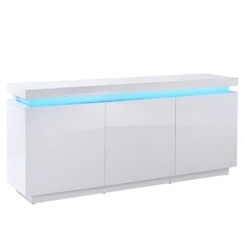 ODYSSEE Buffet bas LED contemporain blanc laque brillant - L 170 cm