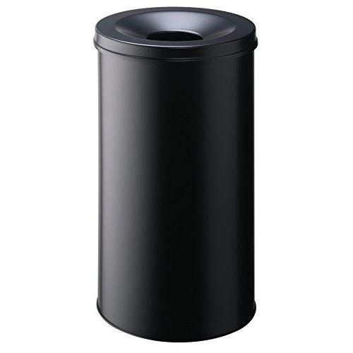 Durable 330701 corbeille à papier ronde 60 litres avec couvercle etouffoir anti-feu hauteur 66cm en métal peint coloris noir
