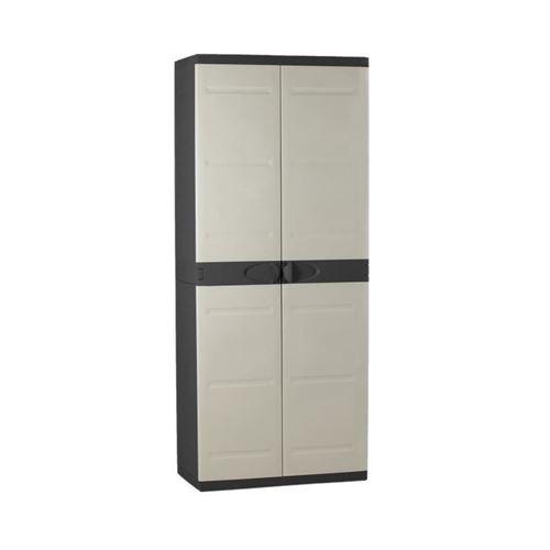 TITANIUM PLASTIKEN Armoire haute 2 portes avec etageres - 70 x 44 x 176 cm - Beige et Noir - Gamme TITANIUM - Interieur et Exter