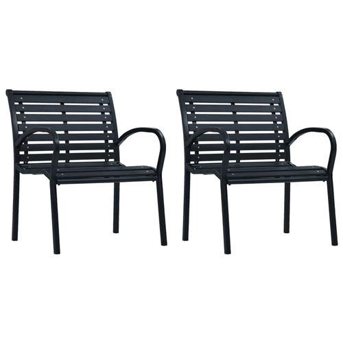 Chaises de jardin 2 pcs Noir Acier et WPC