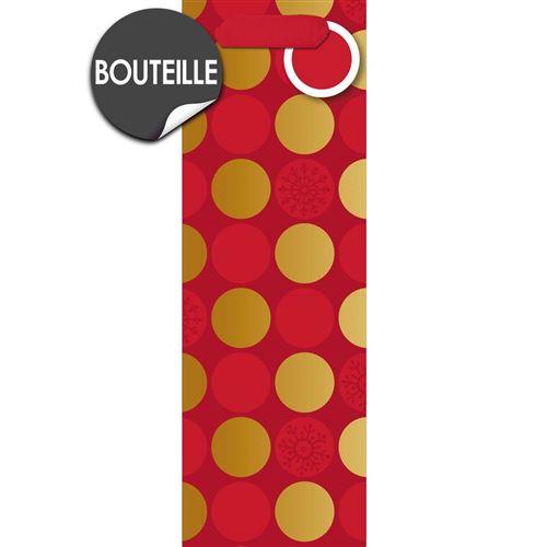 Draeger la carterie Sac cadeau bouteille rouge à pois dores Multicolore