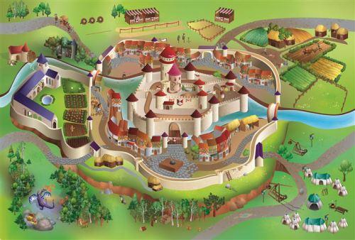 House Of Kids - Tapis de jeu intérieur Moyen age 150x100cm