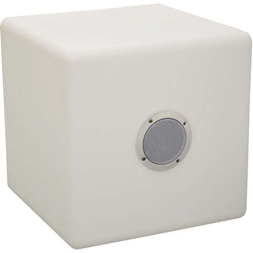 Proloisirs - Cube tabouret led et haut parleur 40 cm