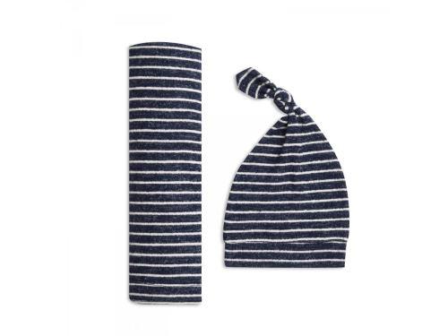 Aden and Anais - aden + anais coffret cadeau maxi-lange maile cosy navy stripe (taille unique)
