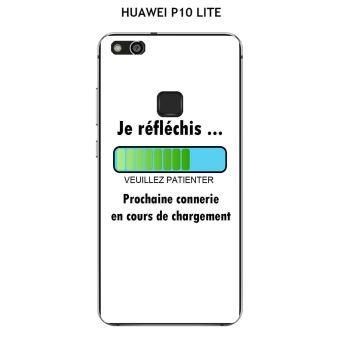 Coque HUAWEI P10 LITE design Message Je réfléchis, Texte noir