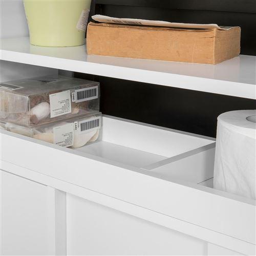 SoBuy® BZR02-W Meuble de Rangement Salle de Bain Armoire WC Meuble WC pour  Papier Toilette Porte Brosse WC