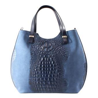 Blue Y Bags En Mujer Bolso Croco Moda De Genuina Gamuza Piel 4qz1A