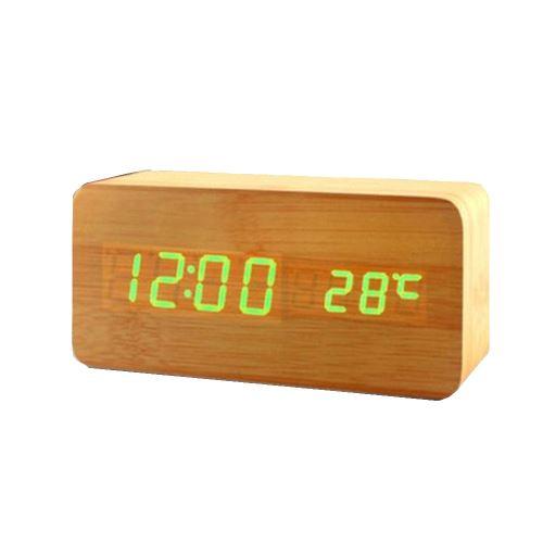 Commande Vocale Calendrier Thermomètre Numérique Led Alarme Horloge en Bois Usb / Aaa Orange PL196