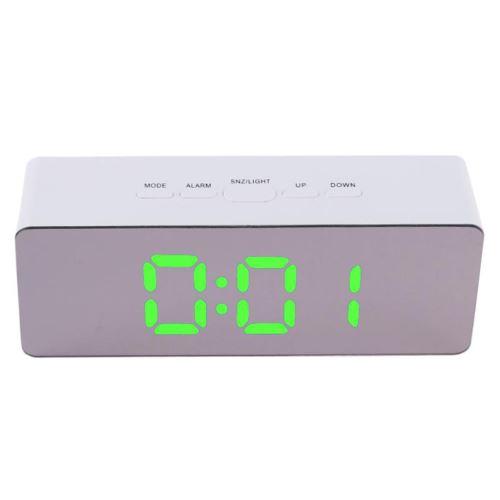 Multi-Fonctionnel Miroir Led Horloge Numérique Alarme Night Lights Thermomètre Vert PL717