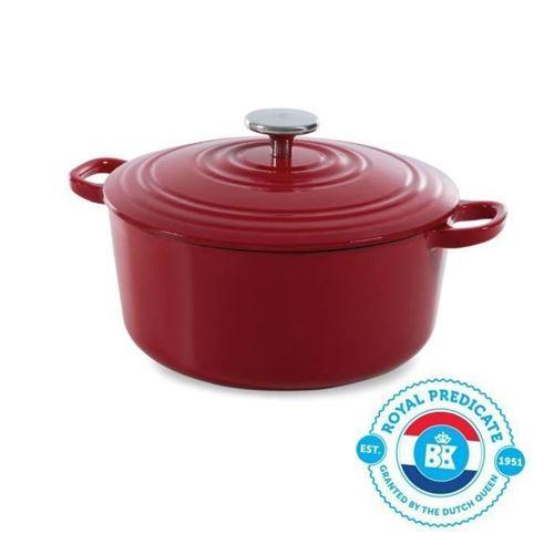 Bk Cookware H6072.528 Bk Bourgogne Cocotte En Fonte - Ronde - 28 Cm - 6.7l - Revetement Emaille - Couvercle Avec Anneaux