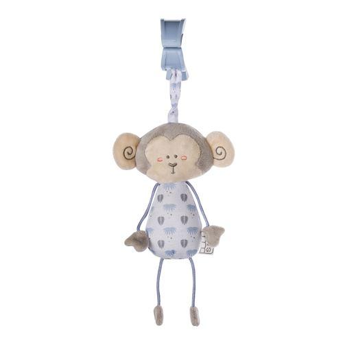 Saro figurine suspendue avec hochet et singe vibrant bleu