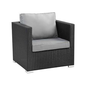 fauteuil jardin en résine tressée ibiza - atlanta - noir - Mobilier ...