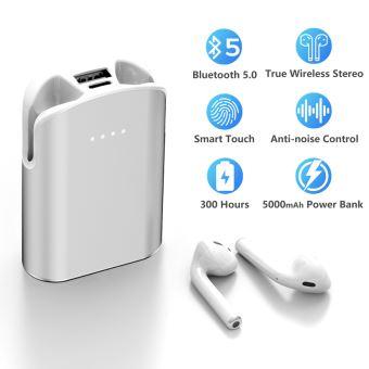 Écouteur Bluetooth LAMZIEN Oreillette sans Fil Charge 5000mAh Hi FI Son Oreillette Sport avec Micro Intégré,Blanc
