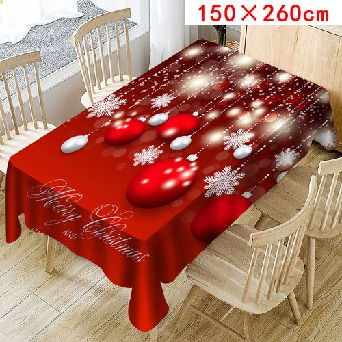 Nappe de Noël Imprimer Rectangle Table Cover Holiday Party Home Decor_Kiliaadk355