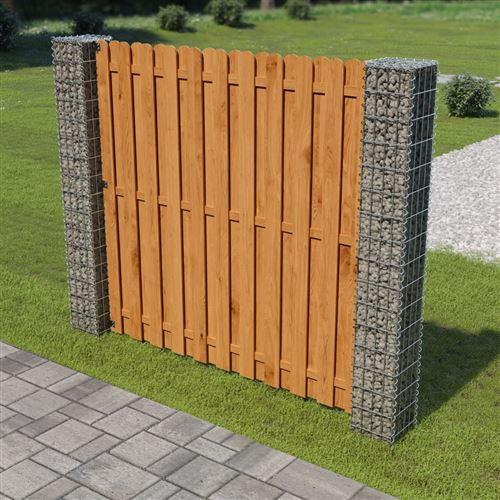 vidaXL Panneau de clôture de jardin avec poteaux en gabion ...