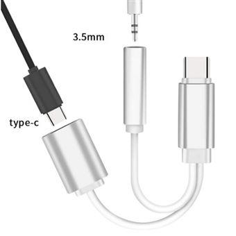 INECK® Audio Adaptateur et CâBle de Chargement 2 en 1 type C vers adaptateur prise jack pour casque audio 3,5 mm avec chargeur, câble audio USB C pour
