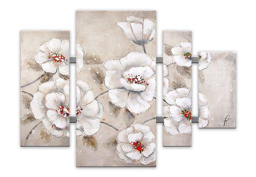 World Art Fleurs Tableau Floral Modern avec Châssis Bois, Multicolore, 109 x 3,5 x 80 cm
