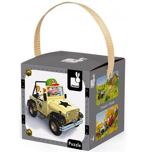 Coffret de 2 puzzles progressifs janod jack et sa jeep 24 - 36 pieces