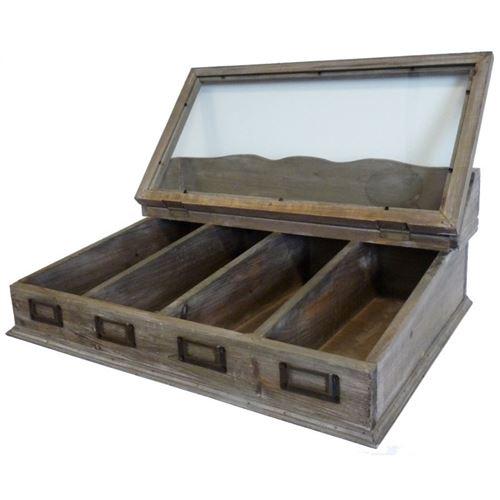 L Heritier Du Temps Boite A Couverts Casier A Thes Range Ustensiles Coffret De Rangement En Bois Vitree 20x37x51cm Achat Prix Fnac