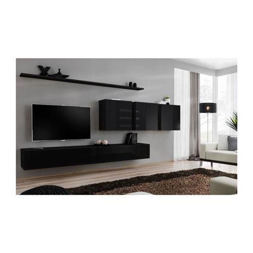 Ensemble meuble salon mural SWITCH VII design, coloris noir brillant.