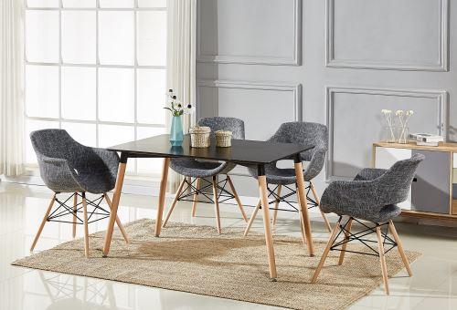 Table Noire + 4 Chaises Gris Foncé en Tissu Olivia