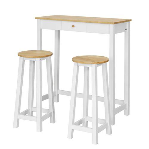 sobuy® fwt50-wn set de 1 table + 2 tabourets table mange-debout