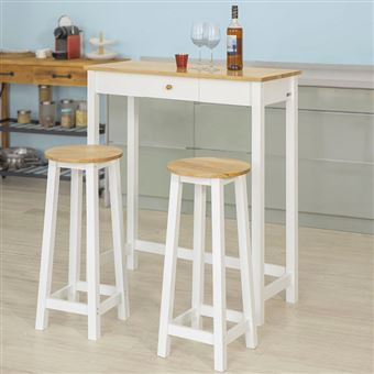Sobuy Fwt50 Wn Set De 1 Table 2 Tabourets Table Mange Debout