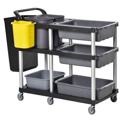 Chariot de nettoyage à 3 niveaux avec quatre bacs et quatre seaux en PP et aluminium roulettes 110 x 50 x 92 cm gris et noir
