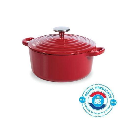 Bk Cookware H6072.520 Bk Bourgogne Cocotte En Fonte - Ronde - 20 Cm - 2.5l - Revetement Emaille - Couvercle Avec Anneaux