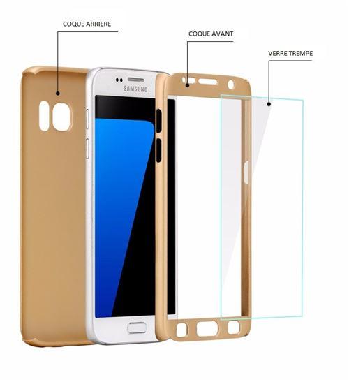Coque pour Samsung Galaxy S7 - Coque Noir Verre Trempé - Housse Etui 360 Full Hybride Protection Rigide Plastique Dur Anti Choc Ultra Slim Intégrale ...