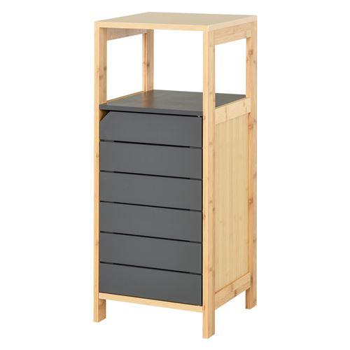 Meuble colonne rangement salle de bain style cosy dim. 32L x 30l x 80H cm porte étagères niche bambou gris