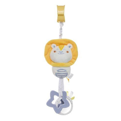 Saro figure suspendue avec hochet et lion jaune qui tremble