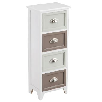 chiffonnier paola commode 4 tiroirs en bois de paulownia style shabby chic vintage blanc achat. Black Bedroom Furniture Sets. Home Design Ideas