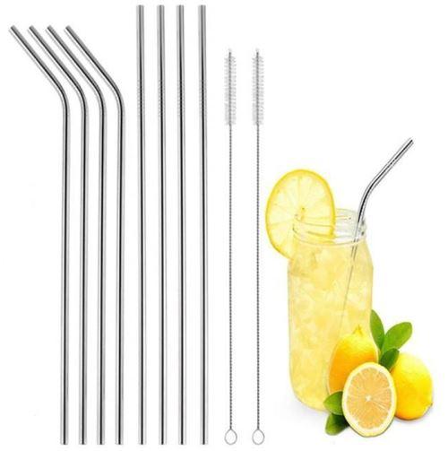 Pailles en acier inoxydable réutilisables 8pcs de 20cm + 2 brosse de nettoyage garantie sans plastique - bon pour l'environnement - résistant - lavable en lave-vaisselle