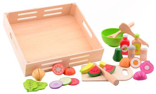Jouéco ensemble de salade dans un plateau en bois 32 x 30 x 7 cm 29 pièces