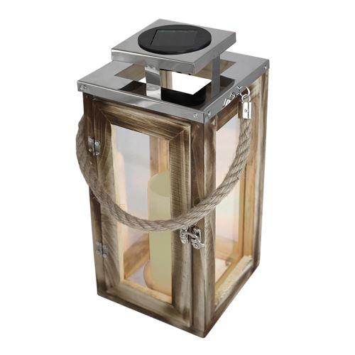 Lanterne solaire chic en bois naturel et inox poignée en corde LED blanc chaud OAKY H41cm