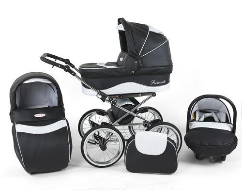 Poussette / Landau combiné 3en1 multifonctions siège-auto & équipement bébé enfant 0-36m Cuir ECO Cadre chromé Romantic Classic