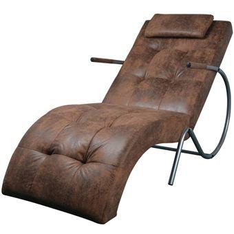 vidaXL Chaise Longue avec Coussin Chaise de Salon Canapé Simple Tissu Daim