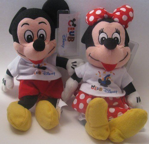Disney Bean Bag Plush Mickey Mouse et Minnie Mouse Club Disney