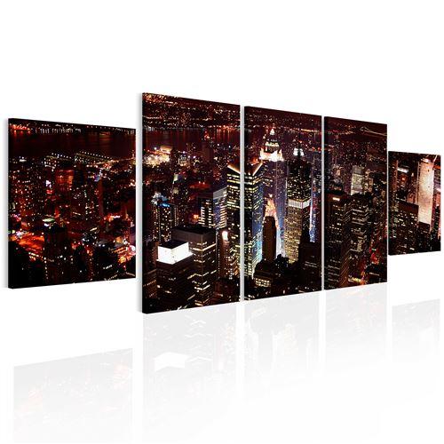 Tableau - Nuit noire à New York - 100x30 - Villes - New