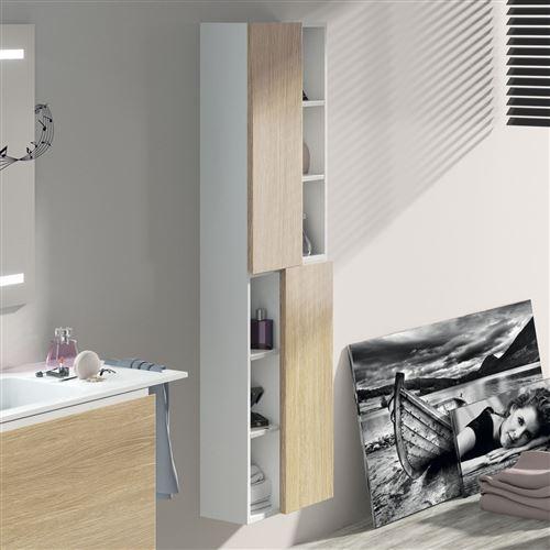 Colonne suspendue laquée blanc 160 cm 2 portes chêne + niches, Moden