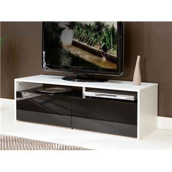 Sun Meuble Tv 120cm Blanc Et Noir Laque Meuble Tv Achat Prix Fnac