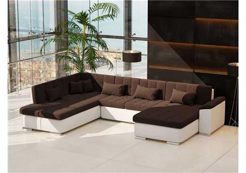 b52eef0a9d408d Chloé Design - Canapé d angle convertible en U Alta VII - Chocolat et blanc  - Angle droit - Achat   prix   fnac