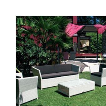 Salon bas de jardin prahia assise chocolat et résine blanche ...