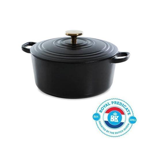 Bk Cookware H6079.524 Bk Bourgogne Cocotte En Fonte - Ronde - 24 Cm - 4.2l - Revetement Emaille - Couvercle Avec Anneaux