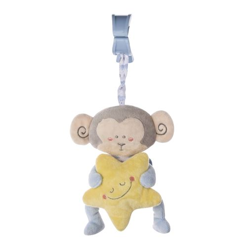 Saro figure suspendue avec hochet et singe bleu vibrant