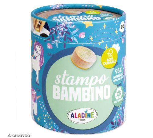 Kit de tampons bois Stampo Bambino - Licorne - 8 pcs