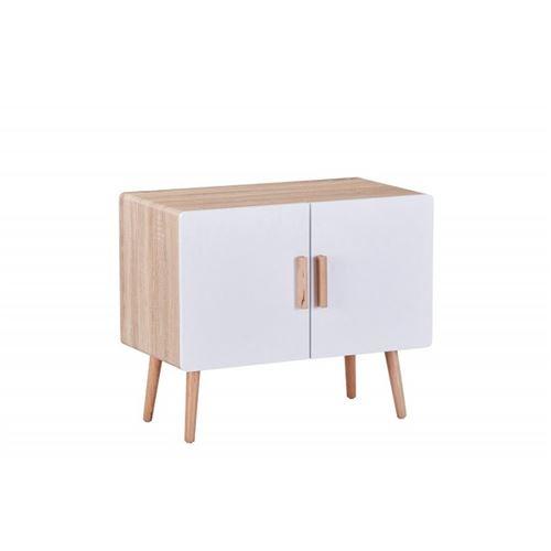 Commode rétro/design SINTRA coloris chêne, blanc et hêtre.