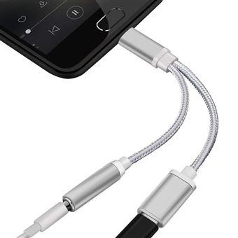 Adaptateur Type CJack pour ONEPLUS 6 Smartphone Chargeur Ecouteurs 2 en 1 Casque (ARGENT)