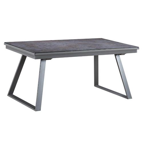 DIURA - Table Repas Rectangulaire Métal et Verre